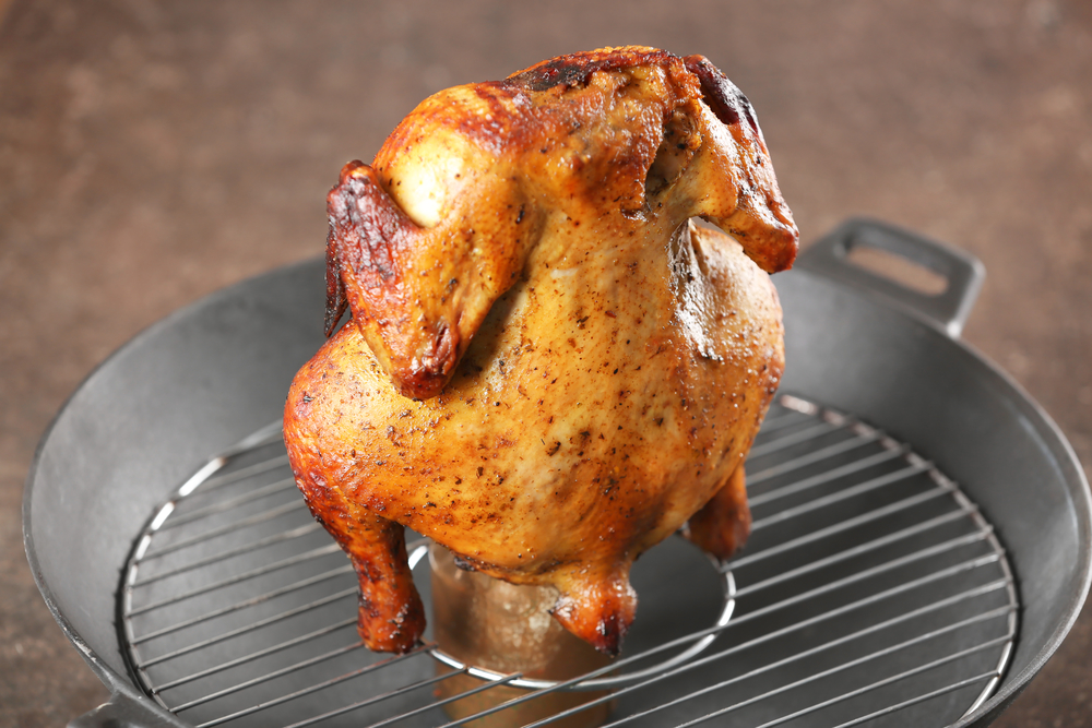 Grilled beer-can chicken