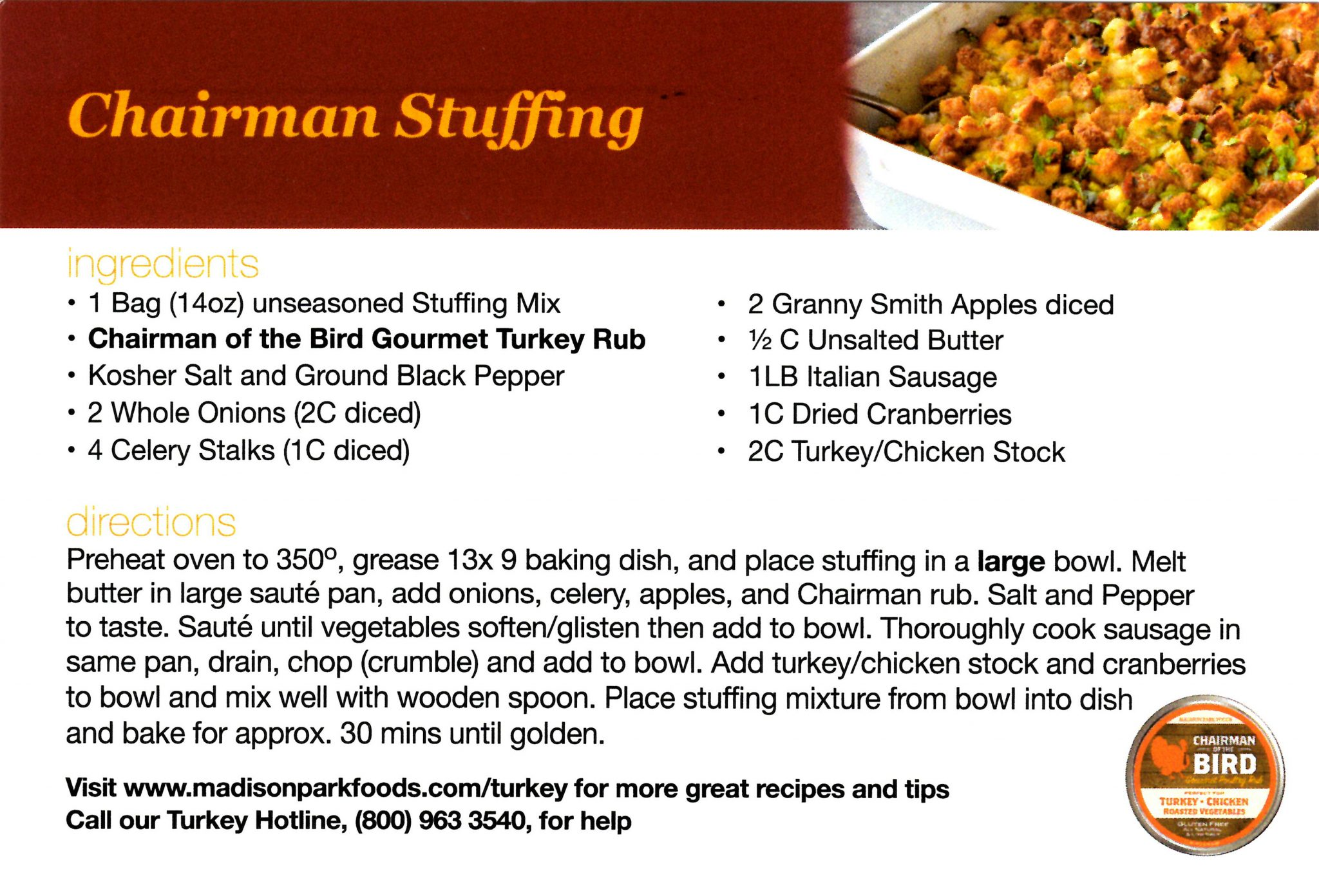 Madison Park Foods Chairman Stuffing Recipe Card