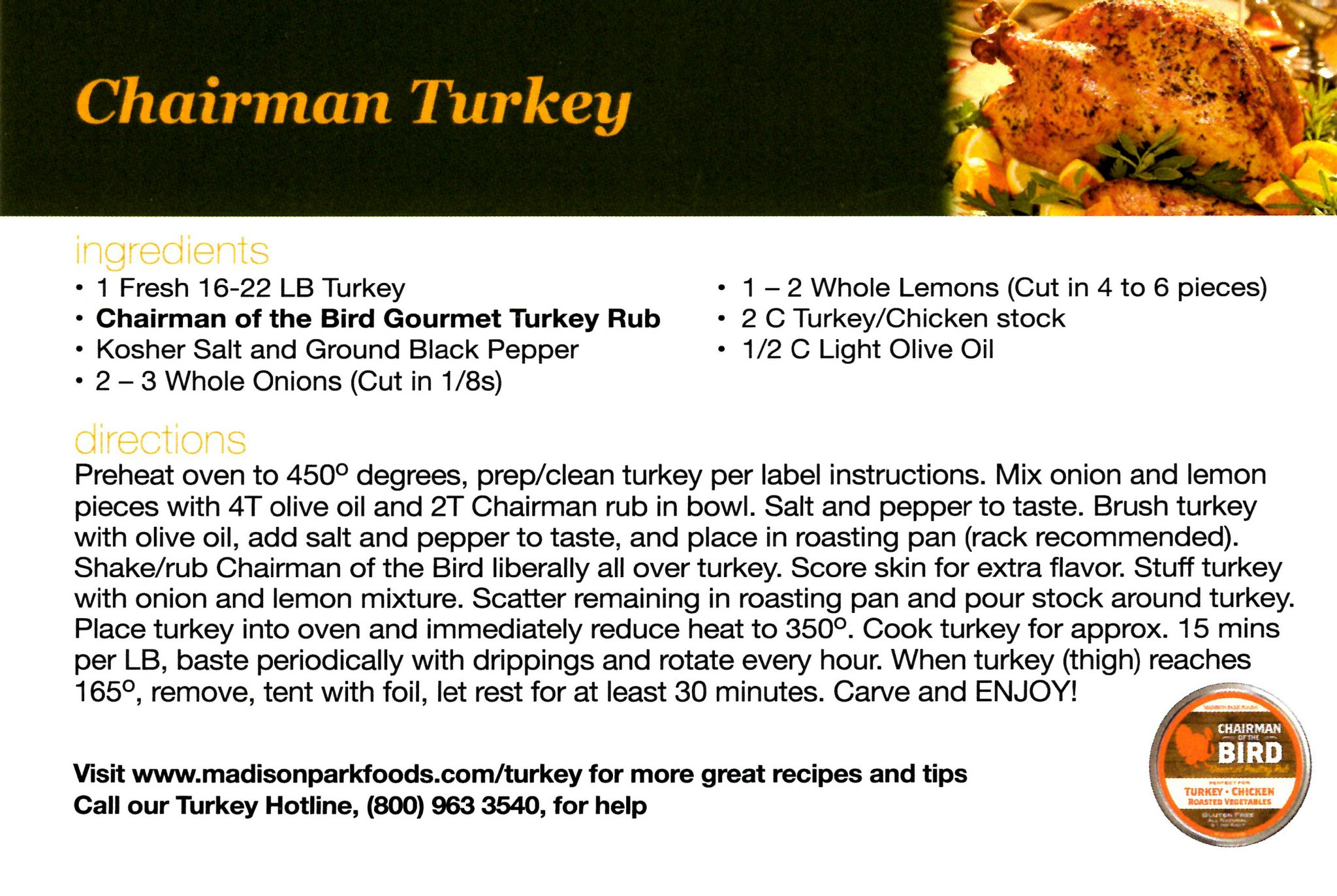 Madison Park Foods Turkey Recipe Card